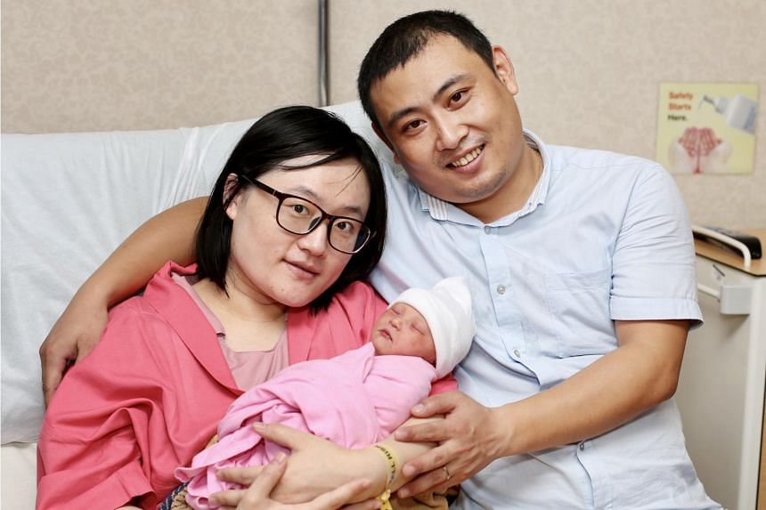 This year's first New Year's Day baby was born at exactly 12am in KK Women's and Children's Hospital to Madam Tian Ning Ning and Mr Wang Mao Song.