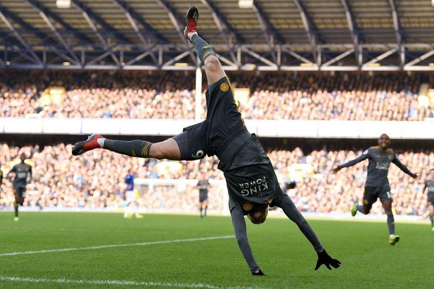Leicester City's English striker Jamie Vardy celebrates scoring.