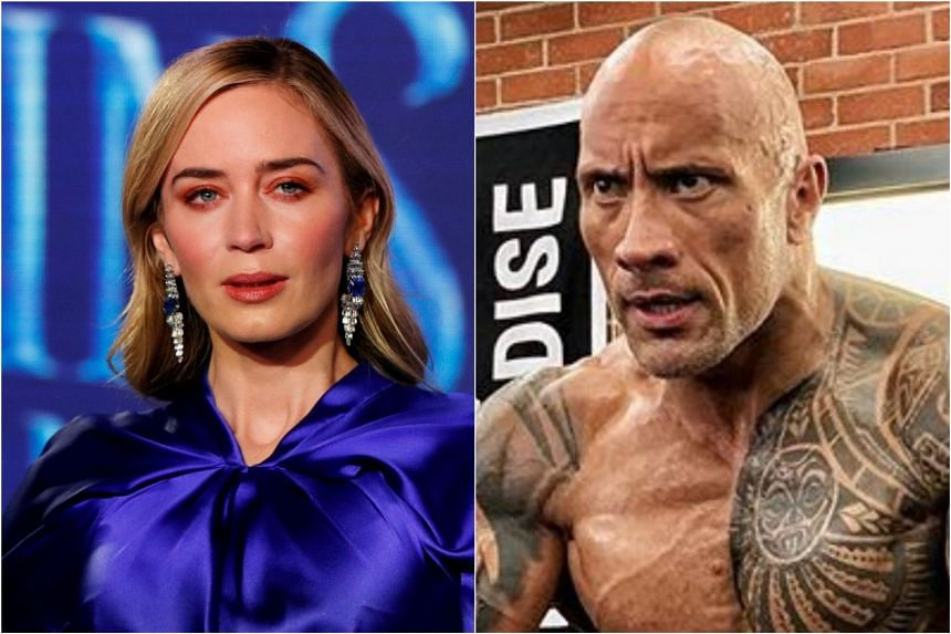 Word is that Emily Blunt (left) banked in only US$9 million (S$12.3 million) for her work in Disney's upcoming Jungle Cruise movie while Dwayne Johnson took home US$22 million.