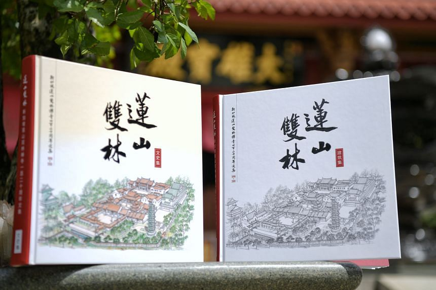 The 120-year history of the Lian Shan Shuang Lin Monastery (above) was recorded in two books launched yesterday by Minister for Trade and Industry Chan Chun Sing (centre in photo on far right). With him is Mr Chuang Shaw Boon, who headed the monaster