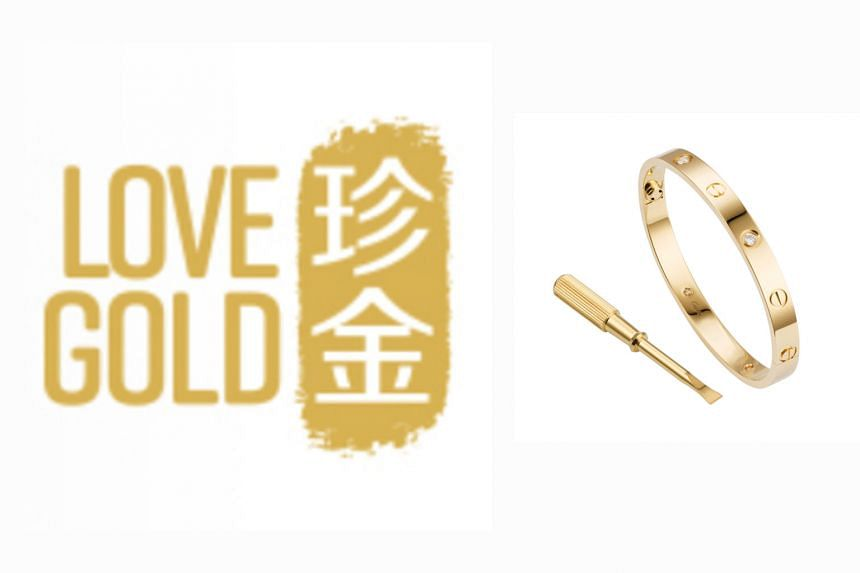 """MoneyMax has been cleared to register its """"Love Gold"""" mark (left). Cartier's """"love"""" bracelet (right) is secured by using a screwhead device. Principal assistant registrar Mark Lim noted the distinctiveness in Cartier's use of the word """"love"""" was in t"""