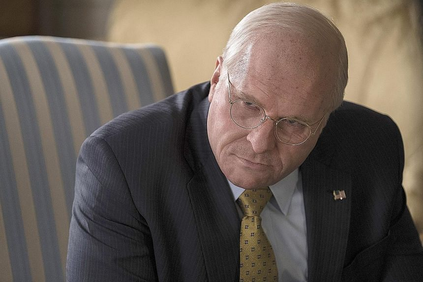 Actor Christian Bale (top right) transformed into Dick Cheney (above) with a weight gain of 18kg together with make-up and prosthetics in the new movie Vice, and a file picture of the former US Vice-President (right).