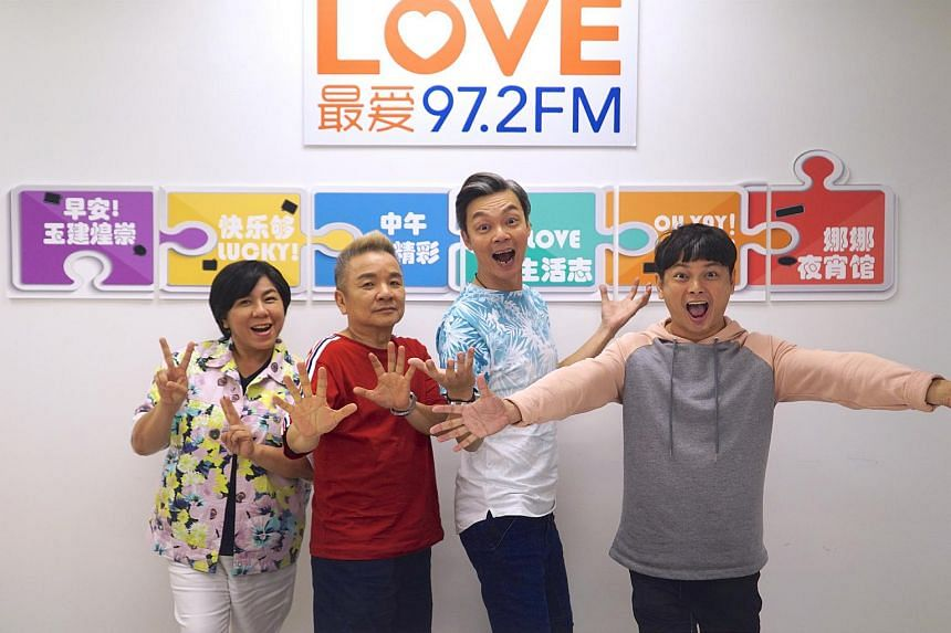 (From left) Love 97.2FM radio DJs Chen Biyu, Marcus Chin, Mark Lee and Dennis Chew. Mark Lee made his directorial debut with the film Make It Big Big, a semi-biographical account of his life as well as those of his three radio DJ partners.