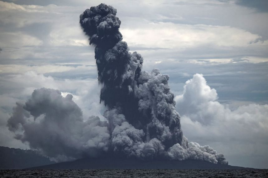The two cracks appeared after the volcano's height dropped from 338m to 110m following its eruptions on Dec 22, 2018.