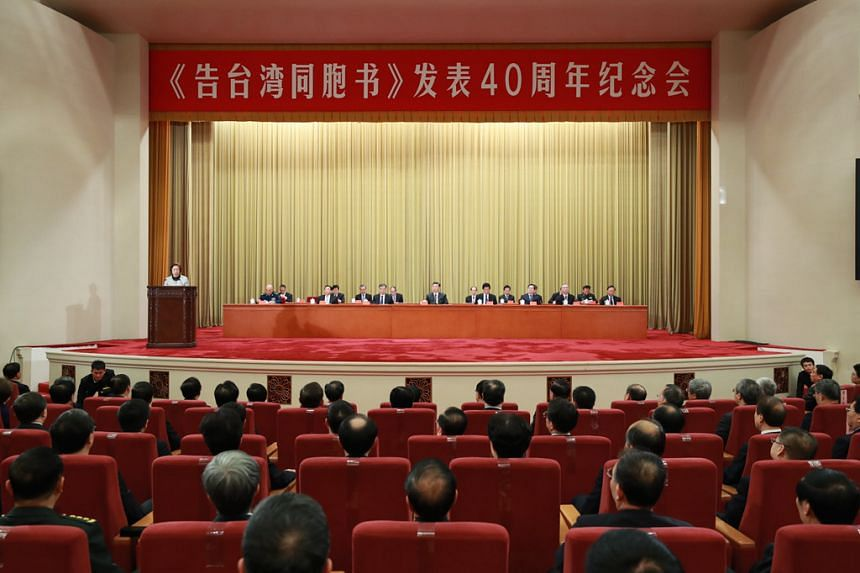 "President Xi Jinping made the remarks at a gathering at the Great Hall of the People in Beijing on Jan 2 to commemorate the 40th anniversary of ""Message to Compatriots in Taiwan"", a policy document by the Chinese Communist Party that ended decades of"
