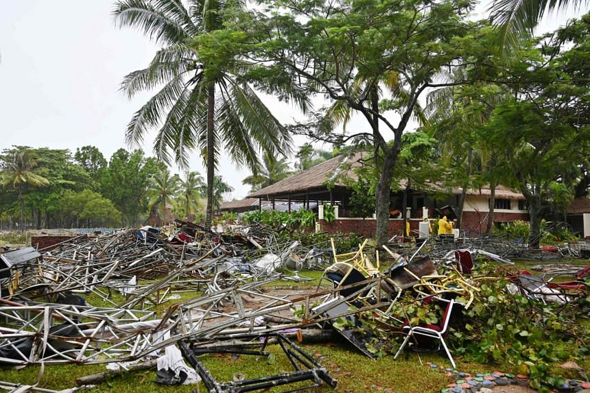 A picture taken on Dec 26, 2018, showing the area where the Seventeen pop band was playing when the tsunami hit the west coast of Indonesia's Java island, on Dec 22, at the Tanjung Lesung Beach resort.