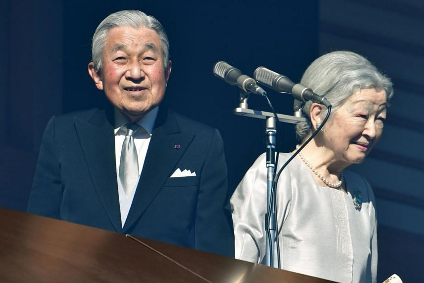 Japan's Emperor Akihito and Empress Michiko attend New Year's greetings to well-wishers at the Imperial Palace in Tokyo on Jan 2, 2019.