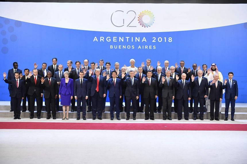 Participants of the G-20 Leaders' Summit in Buenos Aires, Argentina, on Nov 30, 2018.
