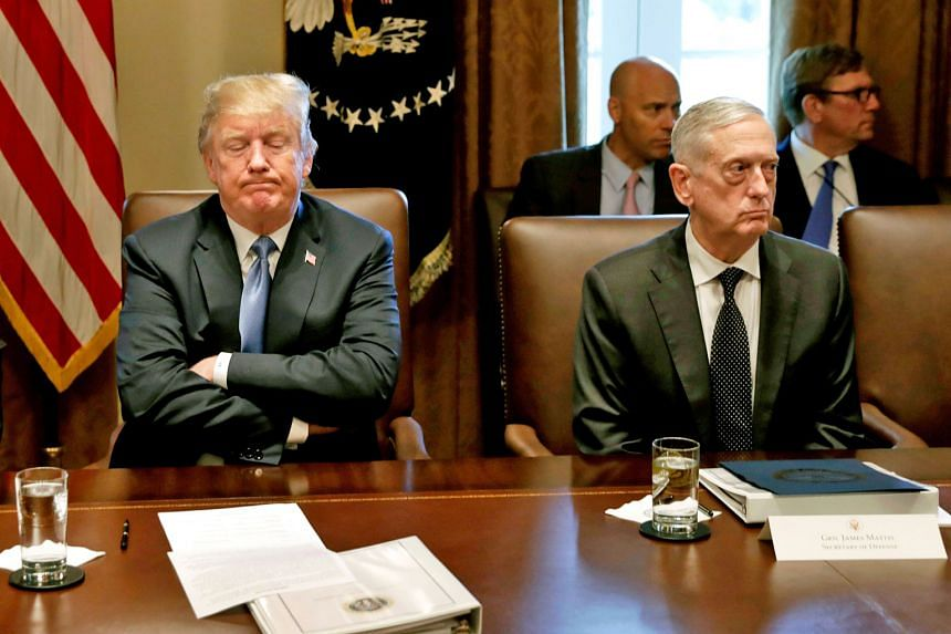 President Donald Trump and Defence Secretary James Mattis at a meeting in June last year. The two had a testy relationship which culminated in Mr Mattis' resigning late last year.