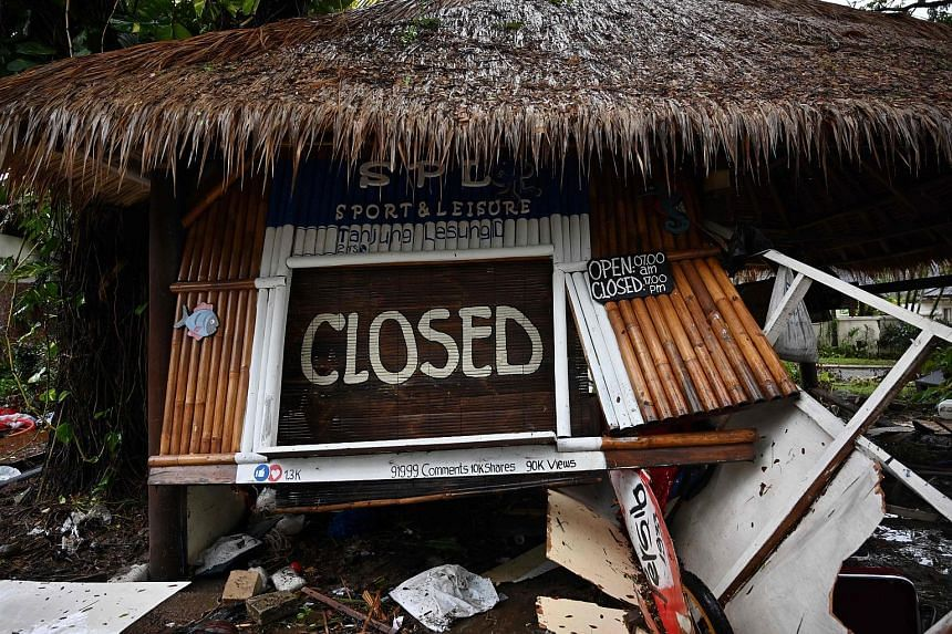 The sport and leisure centre at the Tanjung Lesung Beach resort in ruins on Dec 26 last year after a deadly tsunami pummelled the west coast of Indonesia's Java island on Dec 22.