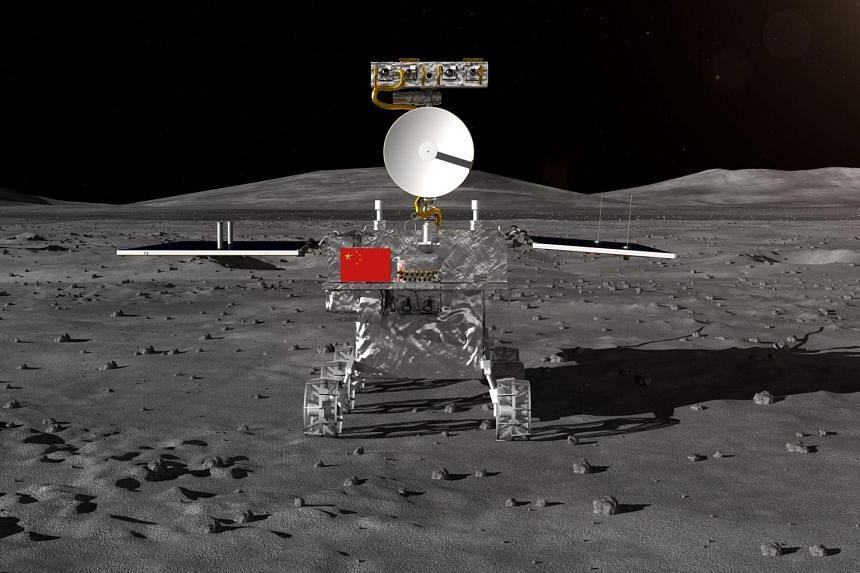 An artist's impression of the rover of China's Chang'e-4 lunar probe released by the China National Space Administration.