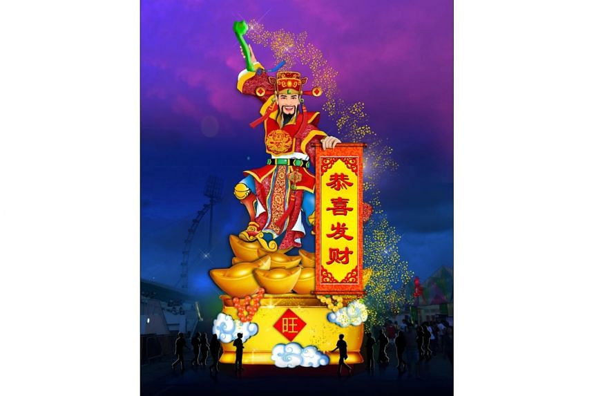 Artist impression of the giant God of Fortune that will feature in River Hongbao 2019.