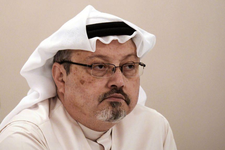 Saudi journalist Jamal Khashoggi at a press conference in the Bahraini capital Manama on Dec 15, 2014.