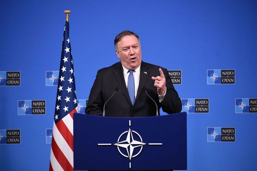 US Secretary of State Mike Pompeo talks during a press conference after a Nato Foreign Ministers meeting at the Nato headquarters in Brussels on Dec 3, 2018.