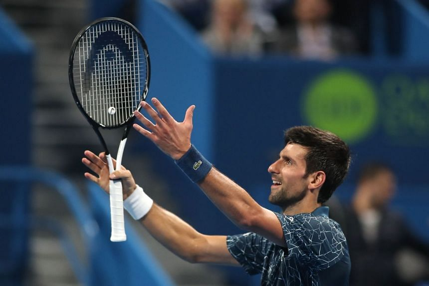 Serbia's Novak Djokovic reacts after winning the ATP Qatar Open tennis second round match in Doha on Jan 2, 2019.