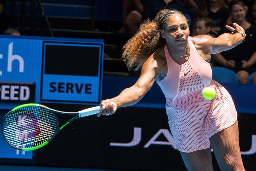 Serena Williams of the US at the women's singles match on day six of the Hopman Cup tennis tournament in Perth, on Jan 3, 2019.