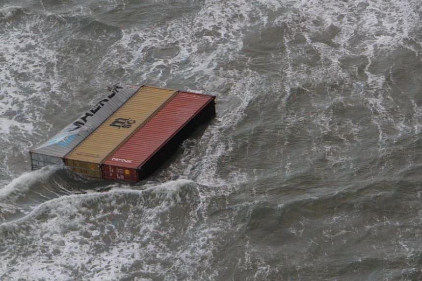 Lost containers of the Panamian-flagged MSC Zoe vessel in the water of the North Sea, off the German and Dutch coast, on Jan 2, 2019.