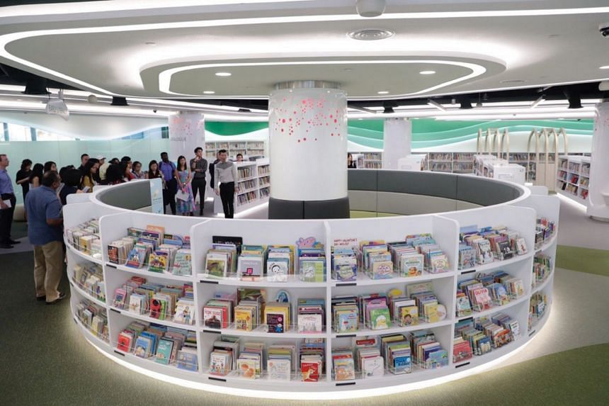 A shelf with books in the Children's Zone in the new library at VivoCity, on Jan 3, 2019.