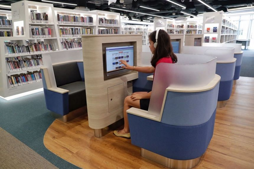 Learning Pods, where users can watch talks and take online courses, in the Adults' and Teens' Zones of the new library at VivoCity, on Jan 3, 2019.
