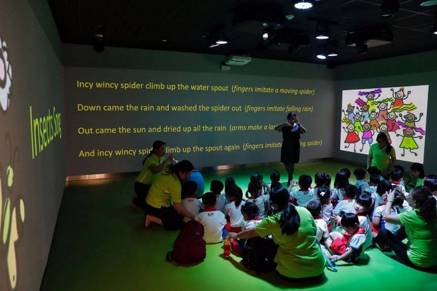 The Stories Come Alive room, where children can get an immersive interactive learning experience across three walls, in the Children's Zone of the new library at VivoCity, on Jan 3, 2019.