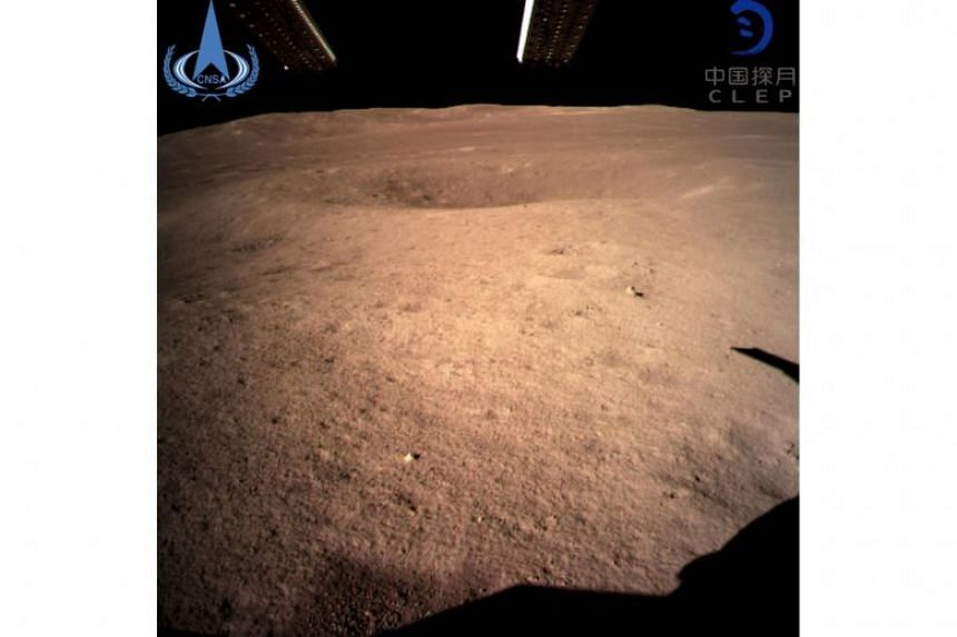 The first close-up image of the dark side of the moon taken by China's Chang'e-4 lunar probe on Jan 3, 2019.