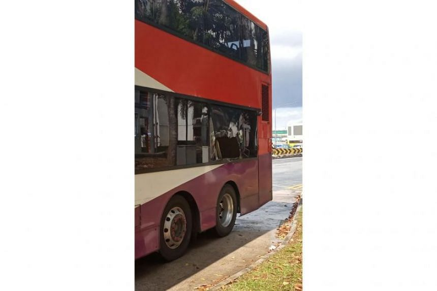 Bus service 161 was hit by a PVC pipe along Woodlands Avenue 2 on Dec 31, 2018, damaging one of its windows.
