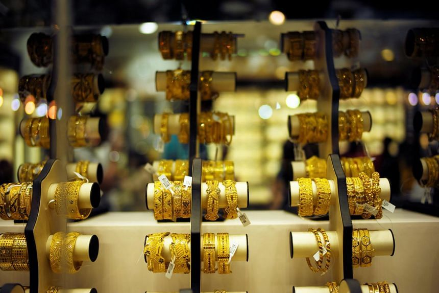 Gold bangles are displayed at a gold shop in Gold Souq in Dubai, United Arab Emirates, Dec 30, 2018.