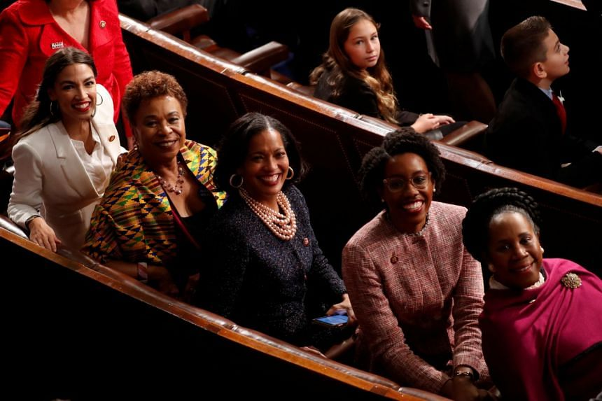 Democrat Representatives (from left) Alexandria Ocasio-Cortez, Barbara Lee, Jahana Hayes, Lauren Underwood and Sheila Jackson Lee.