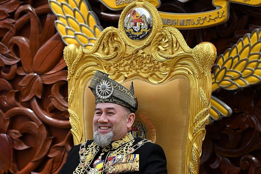 """Sultan Muhammad V attending the opening ceremony of Malaysia's Parliament in Kuala Lumpur last July. It was reported earlier that the King had gone on leave from Nov 2 to rest """"following treatment""""."""