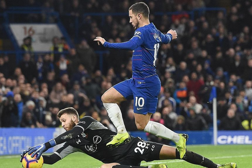 Chelsea's Eden Hazard returned to his favoured winger role on Wednesday but could not find a way past Southampton goalkeeper Angus Gunn.