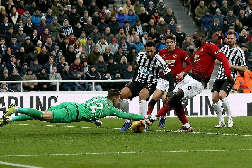 Romelu Lukaku beating Newcastle defender Jamaal Lascelles to the ball to score United's opener past Martin Dubravka at St James' Park. Marcus Rashford sealed the win which maintained Ole Gunnar Solskjaer's perfect start.