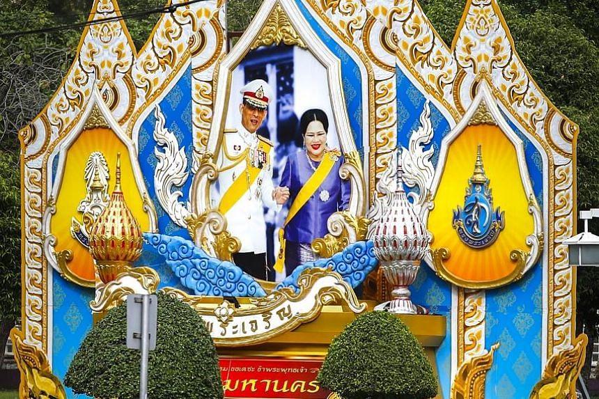 A portrait of Thai King Maha Vajiralongkorn and his mother, Queen Sirikit, in Bangkok.