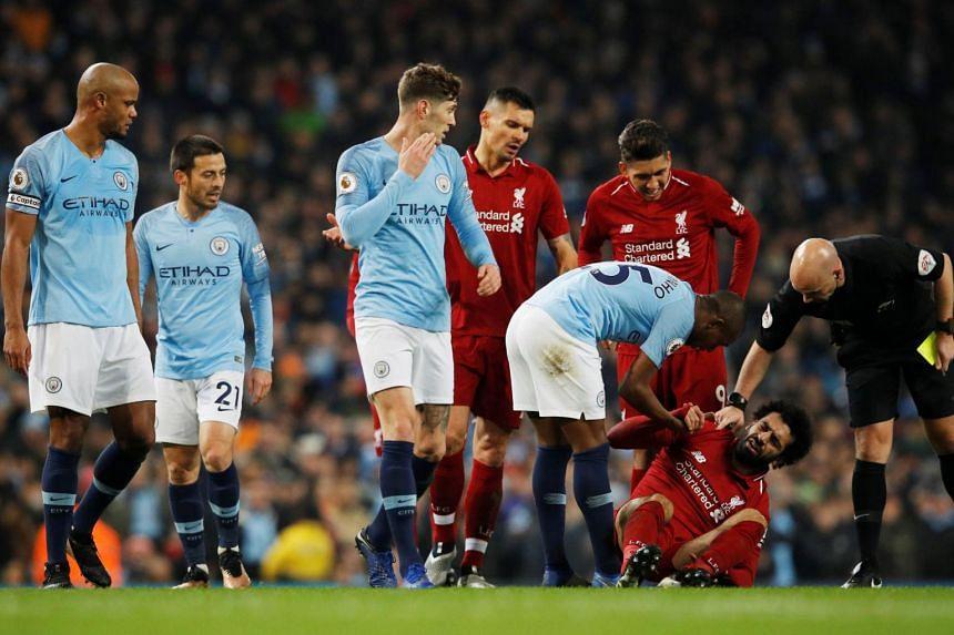 Vincent Kompany should have been sent off for his ugly foul on Mohamed Salah, said Jurgen Klopp.