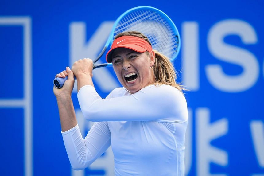 Maria Sharapova of Russia at the women's singles second round match at the Shenzhen Open tennis tournament in Shenzhen in China's southern Guangdong province, on Jan 2, 2019.