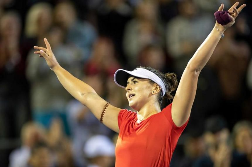 Bianca Andreescu of Canada celebrates her victory against Venus Williams of the US (not pictured) during their women's singles quarter-final match at the ASB Classic tennis tournament in Auckland on Jan 4, 2019.