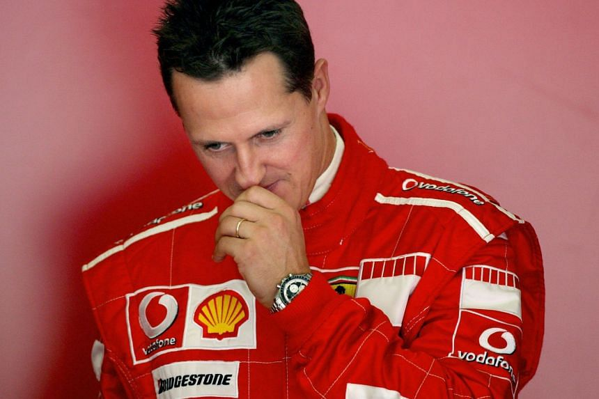 A 2006 photo shows Schumacher pondering during a training session.