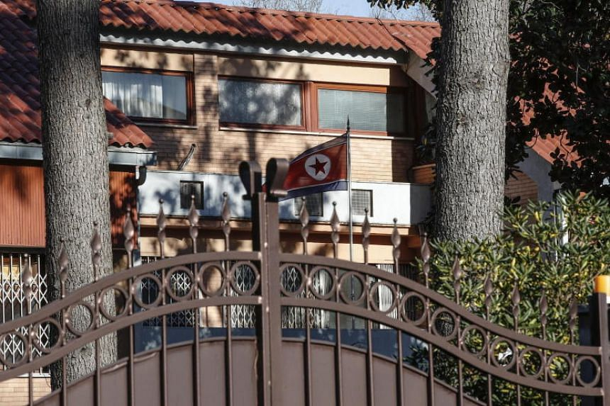 The North Korean flag flies inside North Korea's embassy compound in Rome, Italy on Jan 3, 2019.