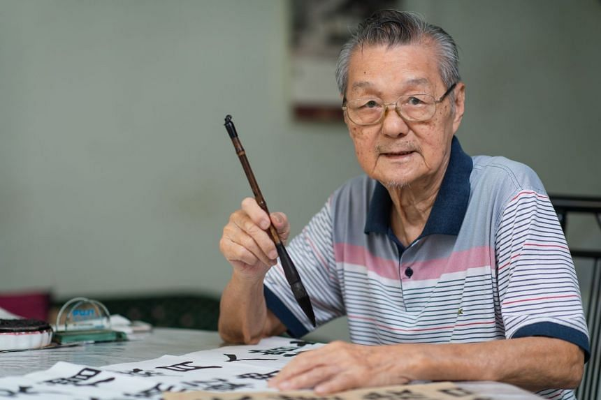 An improved vision helps Mr Quek enjoy his calligraphy hobby better. PHOTO: TED CHEN