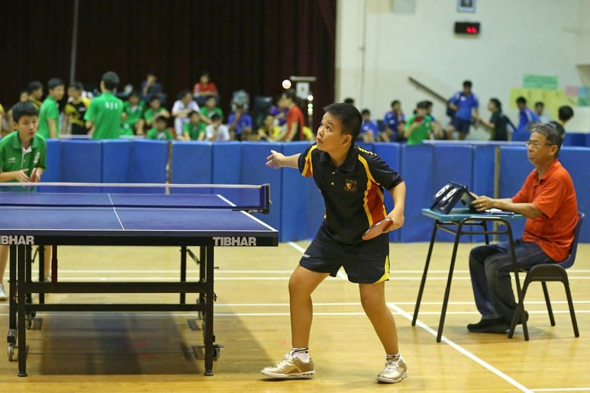 The Anglo-Chinese School (Barker Road) Table Tennis team captain Ryan Chong in action during their first match at the South Zone table tennis championship in February 2018.