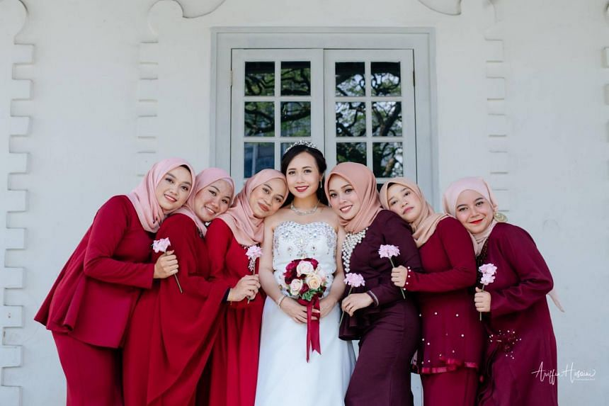 While bride Esther Joseph Kim is from Sarawak, most of the bridesmaids are from the peninsula.