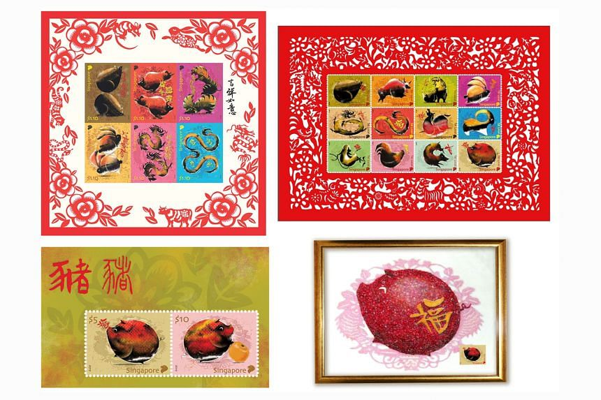 (Clockwise from top left) The Zodiac Series Special Stamp Sheet I, Zodiac Series Collector's Sheet, Gem Encrusted Pig and Zodiac Pig Collector's Sheet. The entire series of stamps is illustrated by artist Leo Teck Chong.