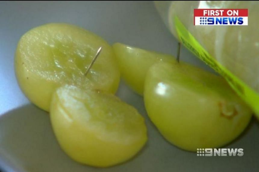 An Australian couple found needles in two grapes they had bought on Jan 1, 2019.