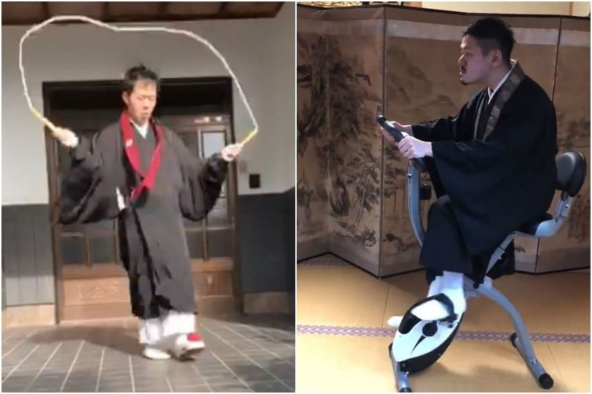 Monks around Japan put on impressive displays of agility wearing the dress that stretches down to the wearer's feet.