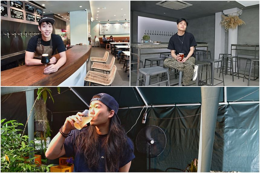 (Clockwise from top left) Owner of Orh Gao Taproom Samuel Low, owner of Almost Famous Craft Beer Bar Kenny Lee and owner of Bunkerbunker Keola Ho. These new bars are going beyond what their predecessors have done by creating multi-purpose spaces.