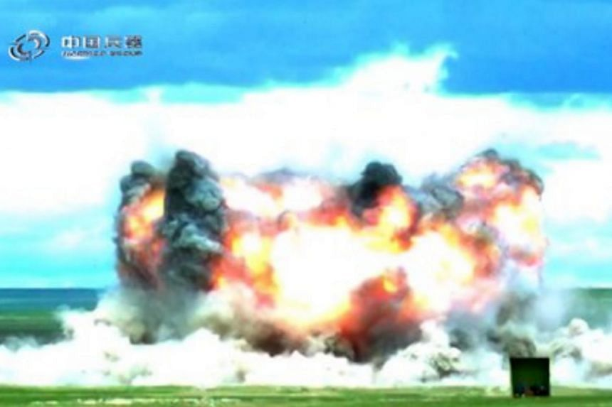 The bomb was dropped by a Chinese H-6K bomber, though further details about the bomb test were not provided.