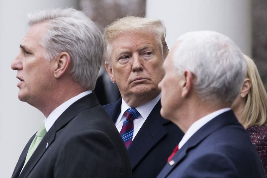 Trump (centre) stands between Pence (right) and House Minority Leader Republican Kevin McCarthy (left) during a news conference.