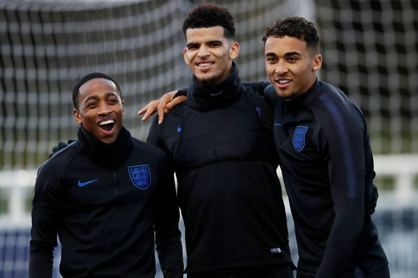 England's Kyle Walker-Peters, Dominic Solanke and Dominic Calvert-Lewin during training.