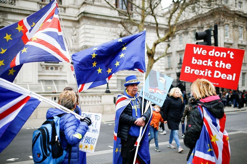 Anti-Brexit protesters gather outside Downing Street, in central London, Jan 2, 2019.