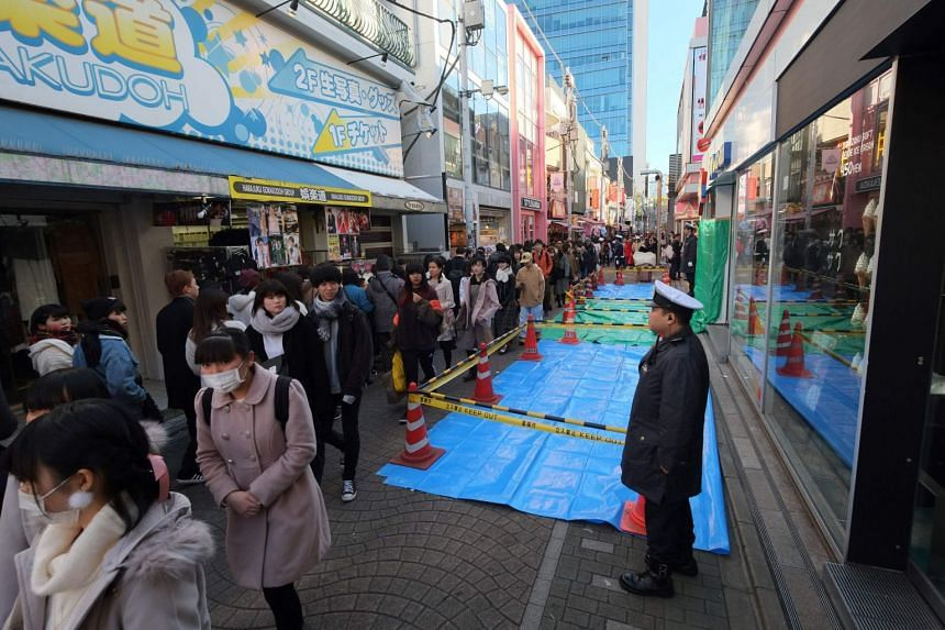 The suspect drove his car into nearby Takeshita-dori in the bustling Harajuku district and mowed down pedestrians after failing to enter the grounds of the shrine due to traffic regulations.