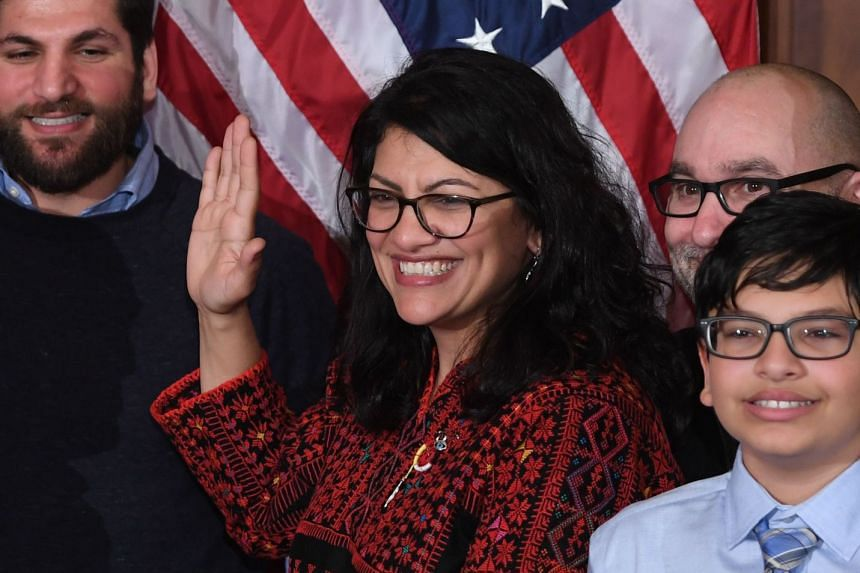 US House Representative Rashida Tlaib participates in a ceremonial swearing-in at the start of the 116th Congress.